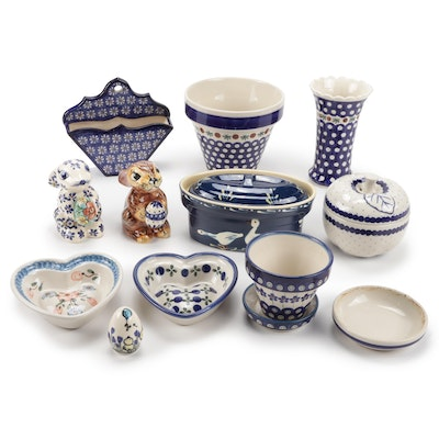 Polish Art Pottery Including Boleslawiec and German Made Art Pottery