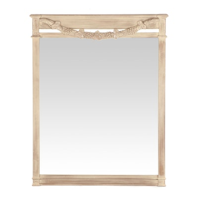 Carved Pickled Finish Wood Framed Trumeau Mirror, Contemporary