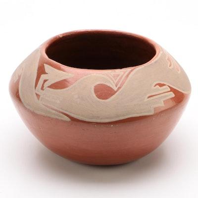 Southwestern Style Redware Slip Painted Vase, Mid-Century