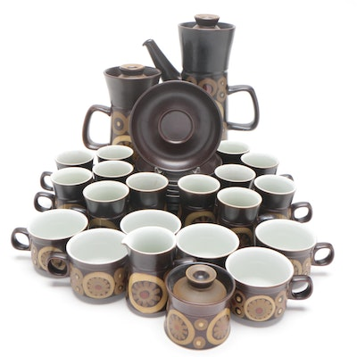 "Denby-Langley Stoneware ""Samarkand Brown"" Coffee Set and ""Arabesque"" Saucers"