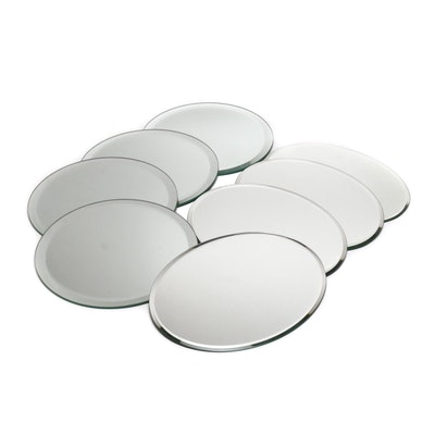 Mirrored Round and Oval Beveled Edge Chargers, Contemporary