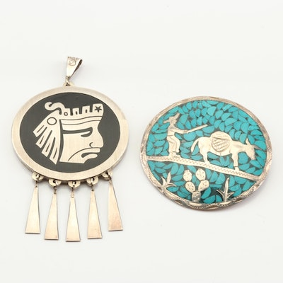 Sterling Silver Pictorial Inlay Brooch Pendant and Double Sided Pendant
