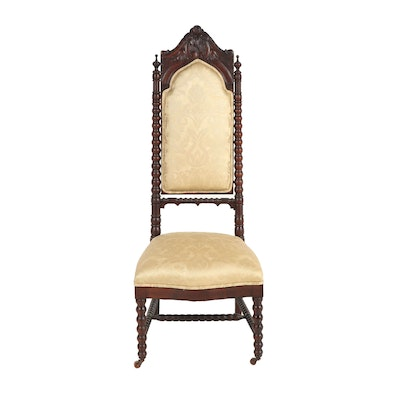 Victorian/Neo-Gothic Carved Wooden Hall Chair, Late 19th Century