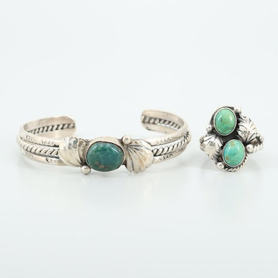 Southwestern Style Sterling Turquoise and Variscite Ring and Bracelet