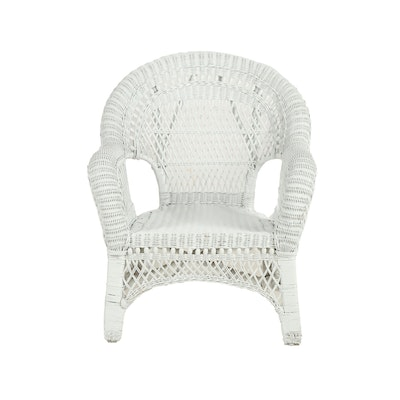 Painted White Wicker Armchair