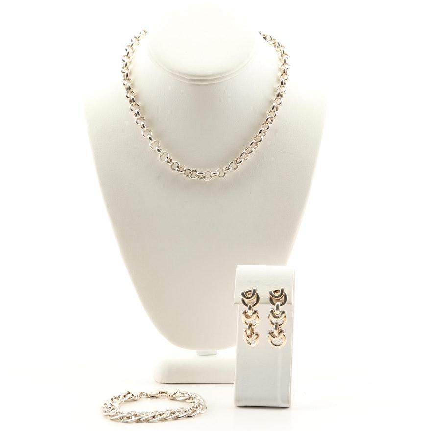 Sterling Silver Link Chain, Bracelet and Dangle Earrings