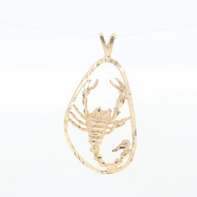 14K Yellow Gold Scorpion Pendant with Diamond Cut Accents