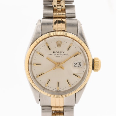Vintage Rolex Oyster Perpetual Date 14K and Stainless Steel Automatic Watch,1971