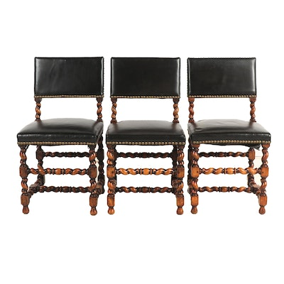 Contemporary Baroque Style Wooden Chairs with Black Leather Upholstery