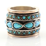 Sterling Silver Simulated Opal Spinning Band With 14K Yellow Gold Accents
