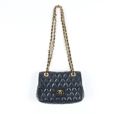 Lederer Double Chain Flap Bag in Navy Blue Quilted Leather with Turnlock