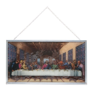 Glassmasters The Last Supper Motif Stained Glass, Late 20th Century