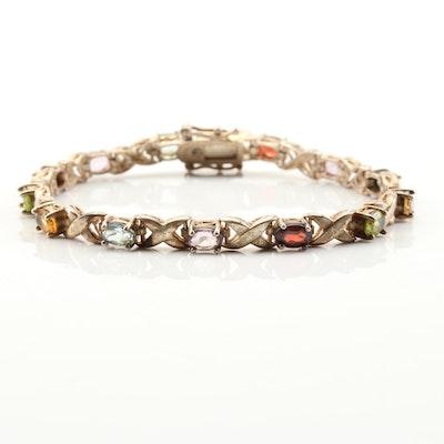Sterling Silver Multi-Gemstone Bracelet