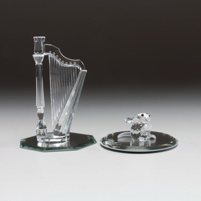 """Swarovski Crystal """"Crystal Melodies Harp"""" and """"Mouse"""" Figurines"""