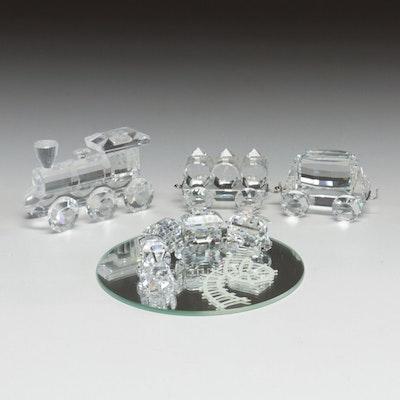 "Swarovski Crystal ""Mini Train Set"" and Other Train Figurines"