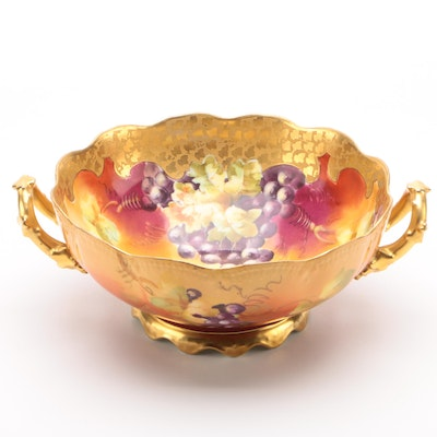 Pickard Hand-Painted Limoges Porcelain Centerpiece Bowl