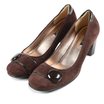 Ecco Brown Suede Monk Strap Hanna Pumps with Patent Leather Accents