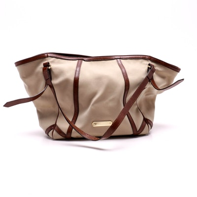 Burberry Tan Canvas Tote with British Tan Leather Trim