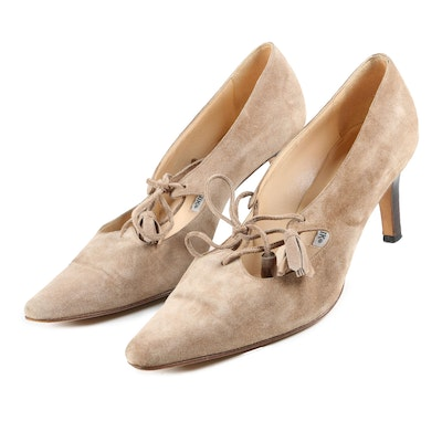 Manolo Blahnik Taupe Suede Pumps with Tassel Ties