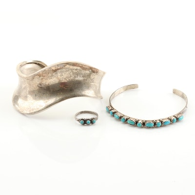 Sterling Silver Turquoise Ring and Cuff Bracelets