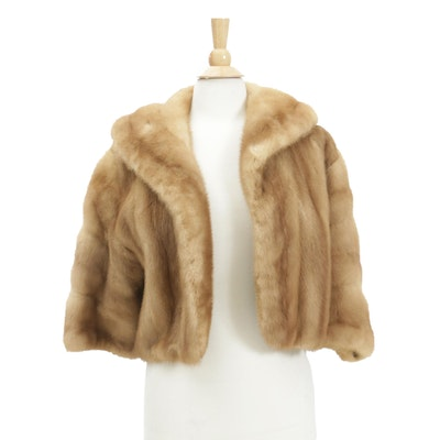 Tawny Mink Fur Crop Jacket with Shawl Collar and Brocade Lining, Vintage