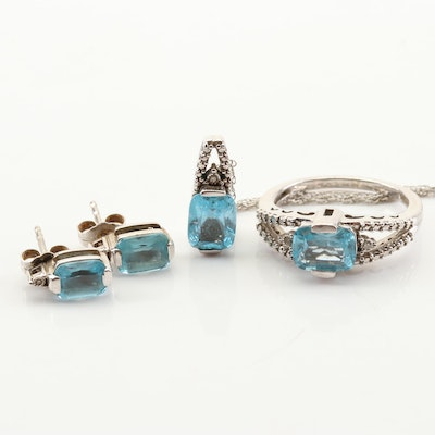 Sterling Silver Blue Topaz and Diamond Earrings, Necklace, and Ring Set
