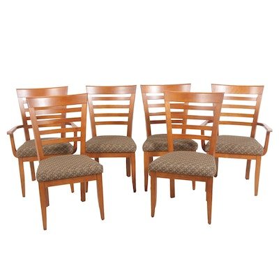 Wooden Ladder Back Dining Chairs, Set of Six