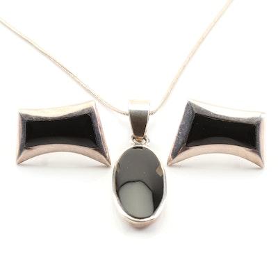 Sterling Silver Black Onyx Demi-Parure