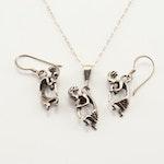 Sterling Silver Figural Demi-Parure