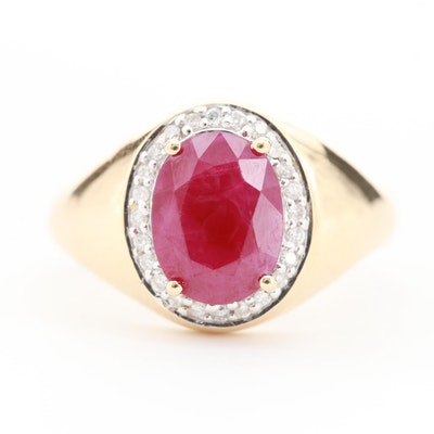 14K Yellow Gold Ruby with Diamond Halo Design Ring