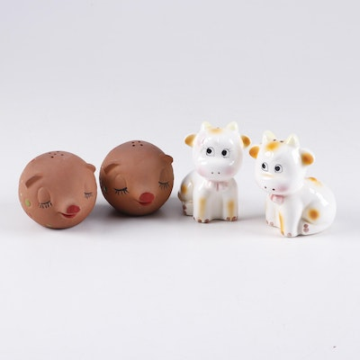 Holt Howard Ceramic and Earthenware Cow and Pig Form Salt & Pepper Shakers