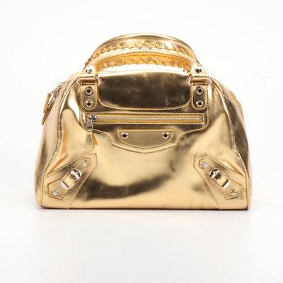 Balenciaga Paris Gold Metallic Patent Leather Bowler Handbag with Pocket Mirror