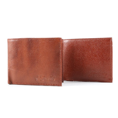 J. Francis Brown Bifolds in Brown Pebbled Leather