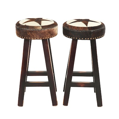 Pair of Contemporary Star Motif Cowhide Upholstered Wooden Barstools
