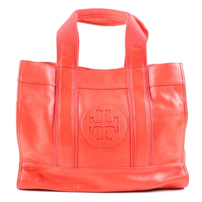 Tory Burch Pebbled Leather Tote Bag in Orange Coral