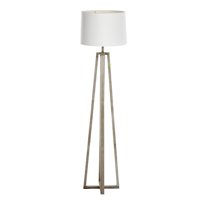 Brushed Steel Industrial Style Floor Lamp, Contemporary