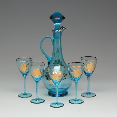Hand-Painted Blue Glass Decanter and Stemware with Gold Lustre