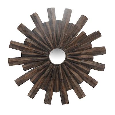 Outdoor Wooden Sunburst Mirror, Contemporary