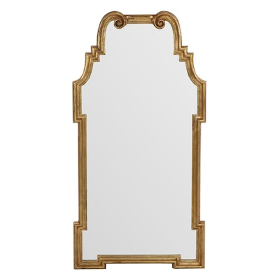 La Barge Baroque Style Gold Painted Antiqued Framed Wall Mirror