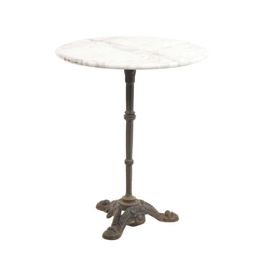 Marble-Top Cast Iron Cafe Table, Antique