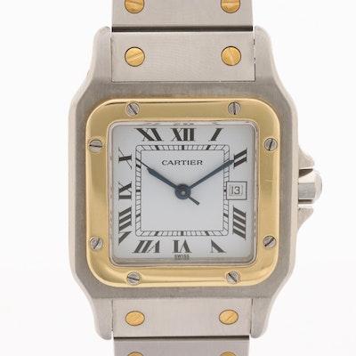 Cartier Santos de Cartier Stainless Steel and 18K Gold Wristwatch With Date
