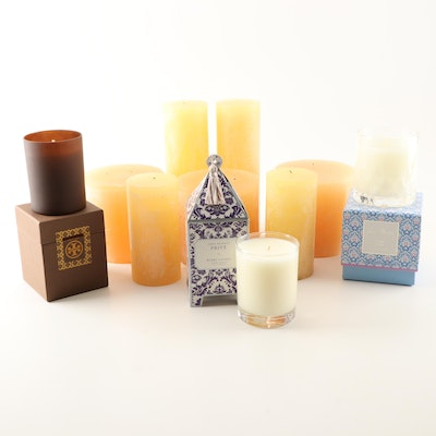 Assortment of Candles Including Vera Bradley and Tory Burch