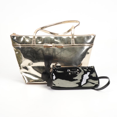 Kate Spade New York Black Patent Leather Evening Bag and Gold Metallic Tote