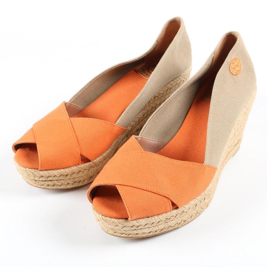 Tory Burch Filipa Orange and Tan Platform Espadrille Wedge Sandals