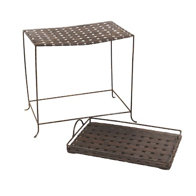 Woven Metal Side Table With Matching Tray Top
