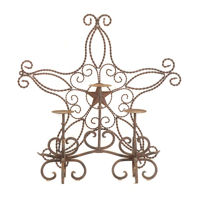 Iron Candelabra and Scrolled Star Wall Hanging