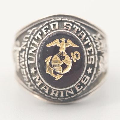 Sterling Silver US Marine Ring with Tun Tavern and Iwo Jima