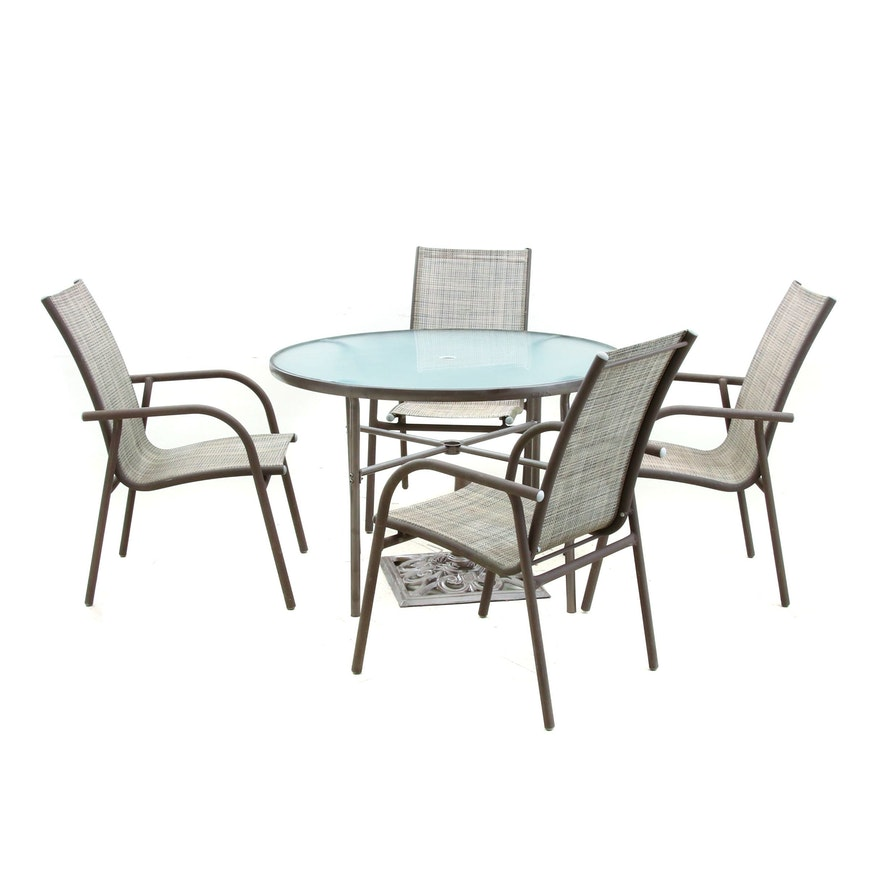 Metal Patio Dining Table and Chairs with Umbrella Stand
