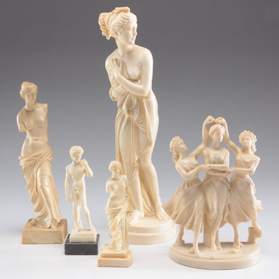 Classic Figure Alabaster Resin Figurines by A. Santini and Other Figurines