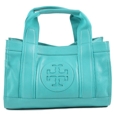 Tory Burch Turquoise Pebbled Leather Tote Bag